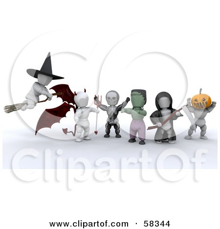 Royalty-Free (RF) Clipart Illustration of a Group Of 3d White Characters In Witch, Devil, Skeleton, Frankenstein, Grim Reaper And Headless Horseman Costumes by KJ Pargeter