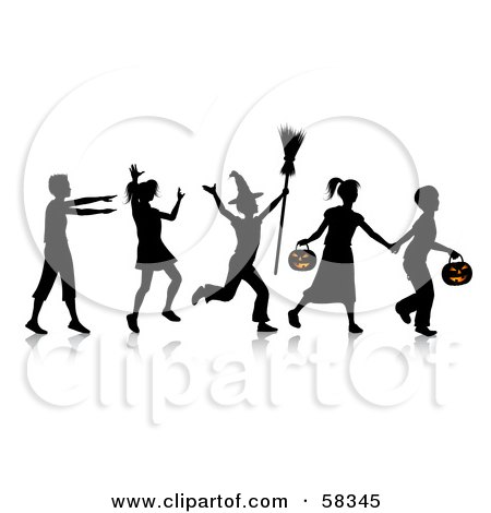 Royalty-Free (RF) Clipart Illustration of a Group Of Silhouetted Children Running And Trick Or Treating On Halloween by KJ Pargeter