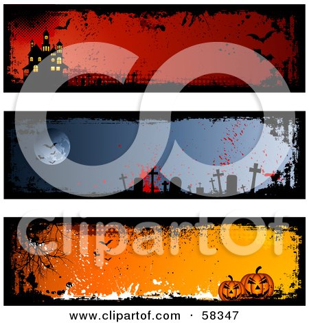 Royalty-Free (RF) Clipart Illustration of a Digital Collage Of Three Halloween Haunted House, Graveyard And Pumpkin Banners by KJ Pargeter