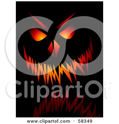 Royalty-Free (RF) Clipart Illustration of a Glowing Menacing Jack O Lantern Pumpkin Face On Black by KJ Pargeter