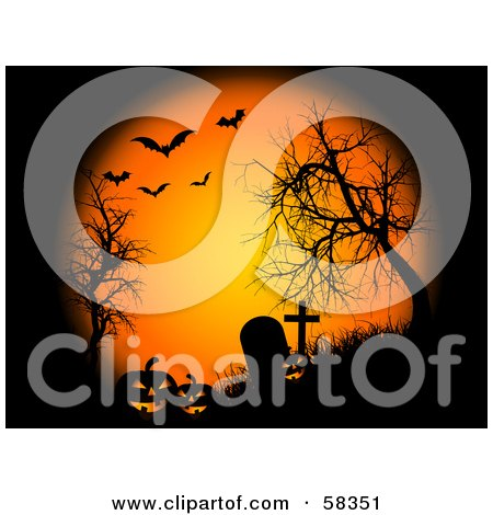 Royalty-Free (RF) Clipart Illustration of Orange Moonlight Shining Down On Pumpkins, Bare Trees And Tombstones In A Cemetery, With Bats by KJ Pargeter