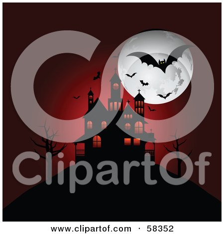 Royalty-Free (RF) Clipart Illustration of a Red Background Of A Silhouetted Spooky House On A Hill, Under Bats And A Full Moon by KJ Pargeter