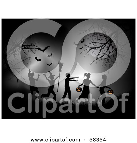 Group Of Silhouetted Trick Or Treaters In Halloween Costumes, Walking Under Bats Between Bare Trees At Night Posters, Art Prints