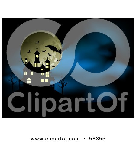 Royalty-Free (RF) Clipart Illustration of Silhouetted Vampire Bats In Front Of The Full Moon Near A Spooky House On A Hill On A Misty Blue Night by KJ Pargeter