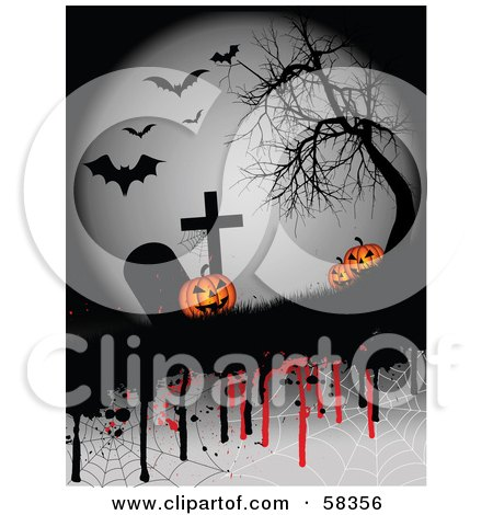 Royalty-Free (RF) Clipart Illustration of Creepy Halloween Pumpkins In A Graveyard Under A Bare Tree And Bats, With Dripping Spider Webs by KJ Pargeter