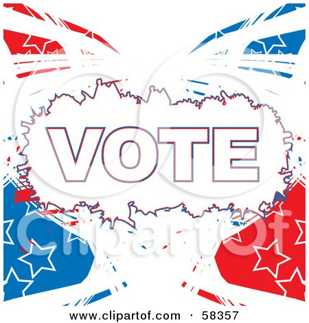 Royalty-Free (RF) Clipart Illustration of a Patriotic American Vote Background With Red, White And Blue Swooshes And White Star Outlines - Version 1 by MilsiArt