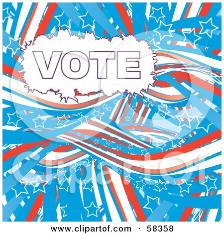 Royalty-Free (RF) Clipart Illustration of a Patriotic American Vote Background With Red, White And Blue Swooshes And White Star Outlines - Version 2 by MilsiArt