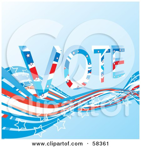 Royalty-Free (RF) Clipart Illustration of a Patriotic American Vote Background With Red, White And Blue Swooshes And White Star Outlines - Version 5 by MilsiArt