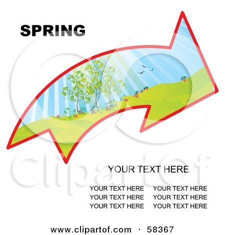 Royalty-Free (RF) Clipart Illustration of an Arrow With A Spring Landscape And Sample Text by MilsiArt