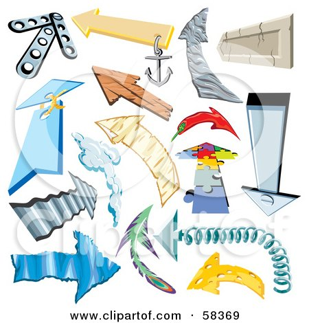 Royalty-Free (RF) Clipart Illustration of a Digital Collage Of Arrows Made Of Different Materials by MilsiArt