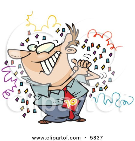 Man Celebrating, Surrounded by Confetti Clipart Illustration by toonaday