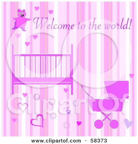 Royalty-Free (RF) Clipart Illustration of a Pink Girly Welcome To The World Baby Girl Greeting With A Crib, Stroller, Hearts And Stripes by MilsiArt