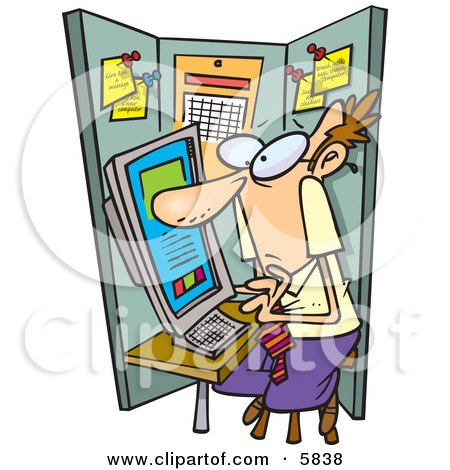 Man Using a Computer in a Cramped Cubicle Posters, Art Prints