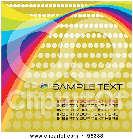 Royalty-Free (RF) Clipart Illustration of Rainbow Waves On A Halftone Background With Sample Text - Version 2 by MilsiArt