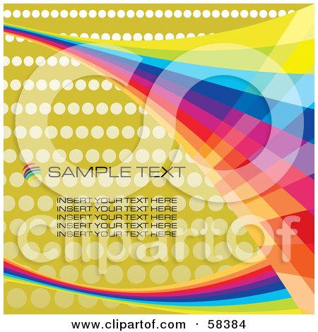 Royalty-Free (RF) Clipart Illustration of Rainbow Waves On A Halftone Background With Sample Text - Version 3 by MilsiArt