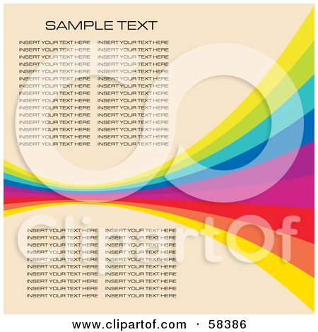 Royalty-Free (RF) Clipart Illustration of a Rainbow Wave With Sample Text On A Pastel Background - Version 2 by MilsiArt