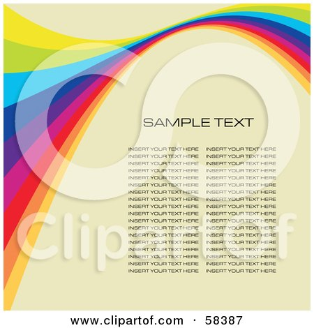 Royalty-Free (RF) Clipart Illustration of a Rainbow Wave With Sample Text On A Pastel Background - Version 3 by MilsiArt