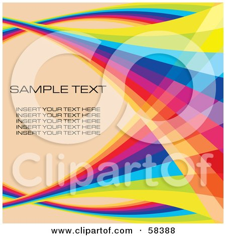 Royalty-Free (RF) Clipart Illustration of a Rainbow Wave With Sample Text On A Pastel Background - Version 4 by MilsiArt