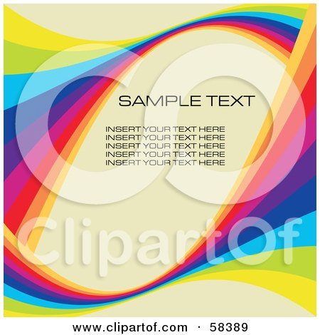 Royalty-Free (RF) Clipart Illustration of a Rainbow Wave With Sample Text On A Pastel Background - Version 5 by MilsiArt