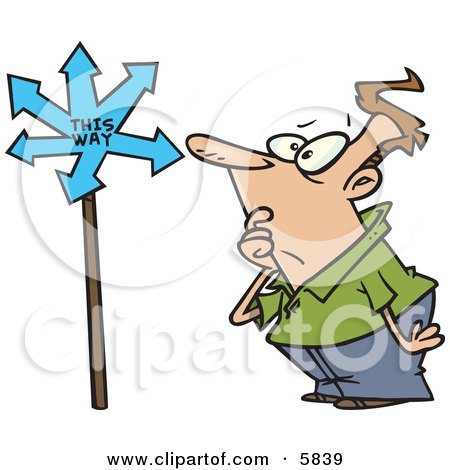 Confused Man Looking at a Sign That Points in Many Directions Clipart Illustration by toonaday
