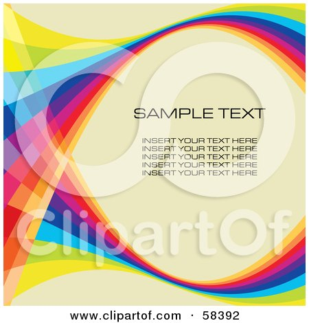 Royalty-Free (RF) Clipart Illustration of a Rainbow Wave With Sample Text On A Pastel Background - Version 8 by MilsiArt