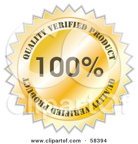 Royalty-Free (RF) Clipart Illustration of a Gold Quality Verified Product Label Seal by MilsiArt