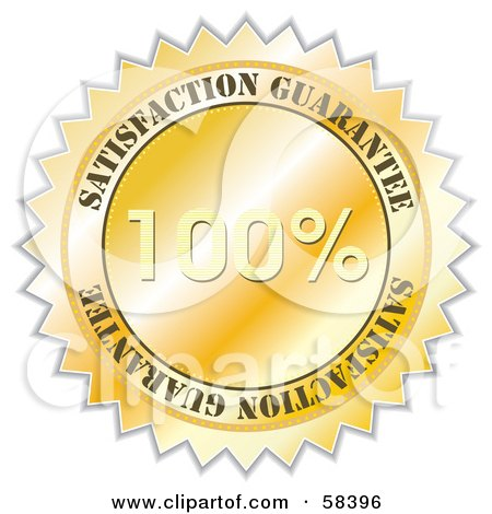 Royalty-Free (RF) Clipart Illustration of a Golden 100 Percent Satisfaction Guarantee Label Seal by MilsiArt