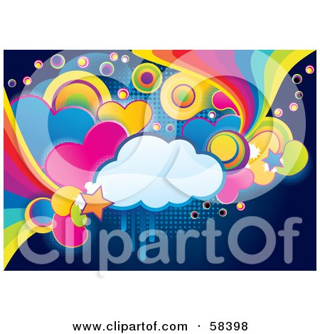 Funky, Colorful Cloud, Circle, Heart And Rainbow Grunge Background Posters, Art Prints