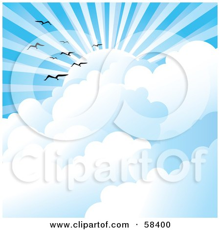 Royalty-Free (RF) Clipart Illustration of Gulls Flying Above Clouds Under Sun Rays In A Blue Sky by MilsiArt