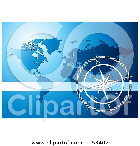 Royalty-Free (RF) Clipart Illustration of a Silver Compass Rose Over A Blue World Map by MilsiArt