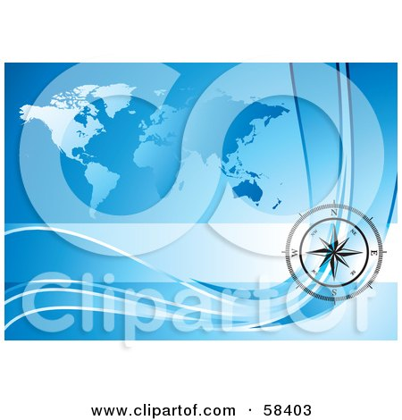 Royalty-Free (RF) Clipart Illustration of a Black Compass Rose Over A Blue World Map by MilsiArt