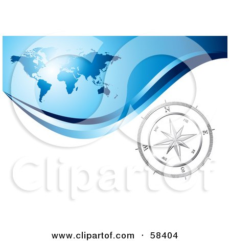 Royalty-Free (RF) Clipart Illustration of a Silver Compass Rose On A White Wave Under A Blue World Map by MilsiArt