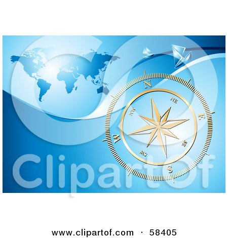 Royalty-Free (RF) Clipart Illustration of a Shiny Gold Compass Rose Over A Blue World Map by MilsiArt