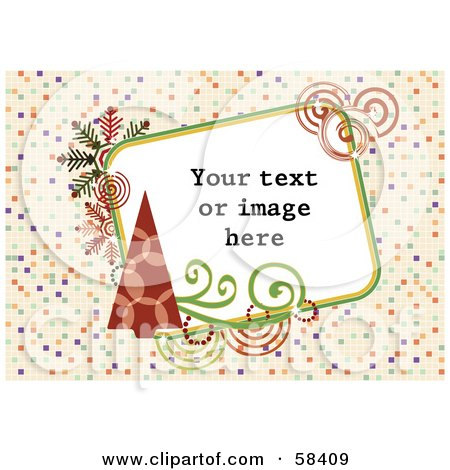 Royalty-Free (RF) Clipart Illustration of a Retro Styled Christmas Box With Sample Text On A Tiled Background by MilsiArt