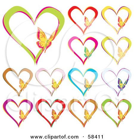 Royalty-Free (RF) Clipart Illustration of a Digital Collage Of Colorful Heart Outlines With Butterflies by MilsiArt