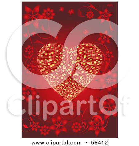 Royalty-Free (RF) Clipart Illustration of a Beautiful Floral Border Surrounding A Golden Tile Heart On Red by MilsiArt