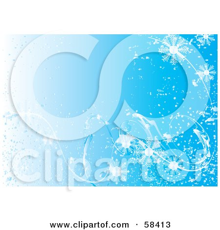 Blue Icy Cold Snowflake Background - Version 1 Posters, Art Prints