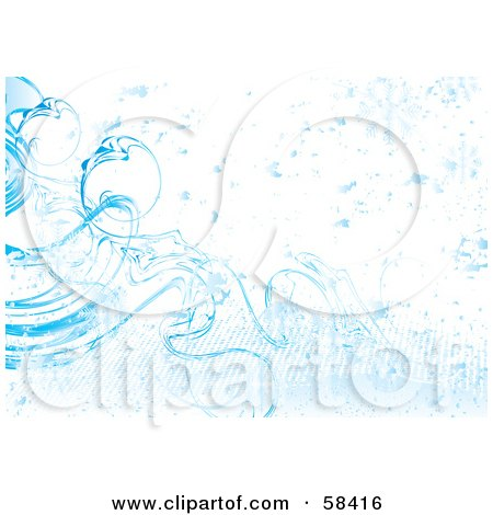 Royalty-Free (RF) Clipart Illustration of a Blue Icy Cold Snowflake Background - Version 2 by MilsiArt