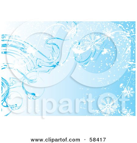Royalty-Free (RF) Clipart Illustration of a Blue Icy Cold Snowflake Background - Version 3 by MilsiArt