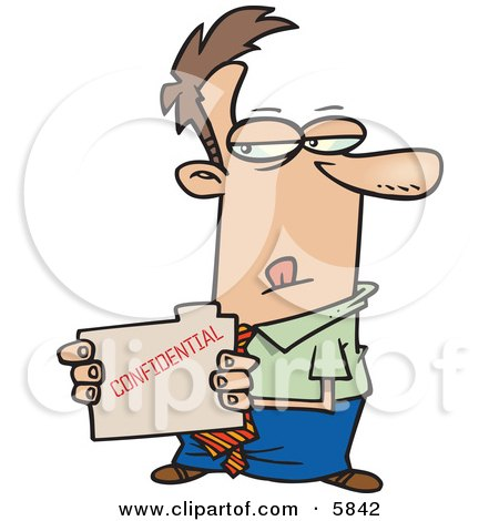Sneaky Business Man Looking at a Confidential File Clipart Illustration by toonaday