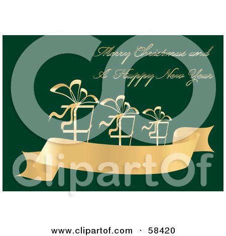 Royalty-Free (RF) Clipart Illustration of a Green And Gold Christmas Greeting With Presents On A Banner by MilsiArt