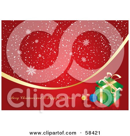 Royalty-Free (RF) Clipart Illustration of a Red Christmas Snowflake Greeting With A Gold Ribbon And Presents by MilsiArt