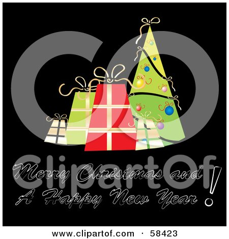 Royalty-Free (RF) Clipart Illustration of a Retro Styled Christmas Greeting With Presents And A Tree On Black by MilsiArt