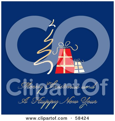 Royalty-Free (RF) Clipart Illustration of a Blue Christmas Greeting With A Tree And Gifts by MilsiArt
