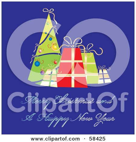 Royalty-Free (RF) Clipart Illustration of a Retro Blue Christmas Greeting With A Tree And Presents by MilsiArt