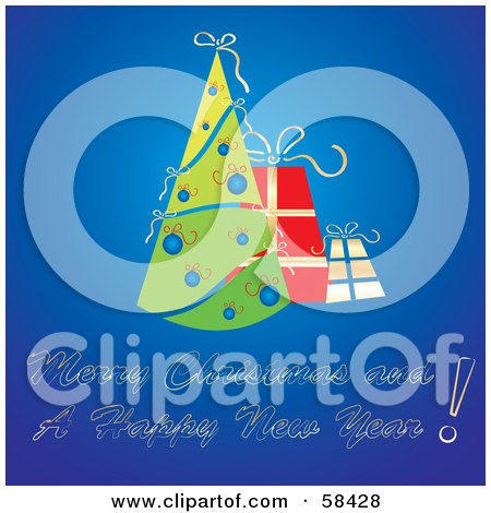 Royalty-Free (RF) Clipart Illustration of a Gradient Blue Christmas Greeting With A Retro Tree And Gifts by MilsiArt