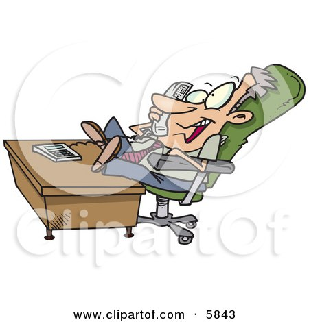 Lazy Business Man With His Feet on a Desk, Talking on a Phone Clipart Illustration by toonaday