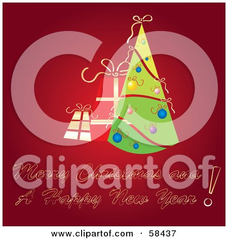 Royalty-Free (RF) Clipart Illustration of a Red Christmas Greeting With A Retro Tree And Presents by MilsiArt