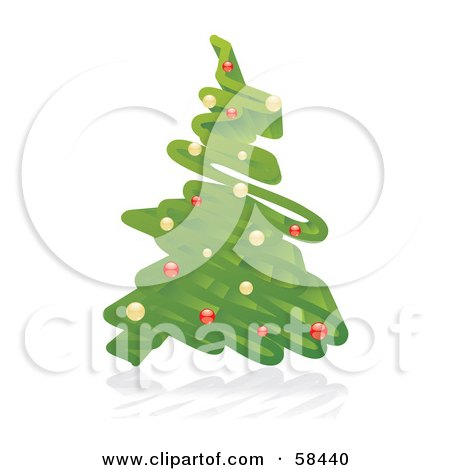 Royalty-Free (RF) Clipart Illustration of a 3d Green Christmas Tree Scribble With Ornaments by MilsiArt