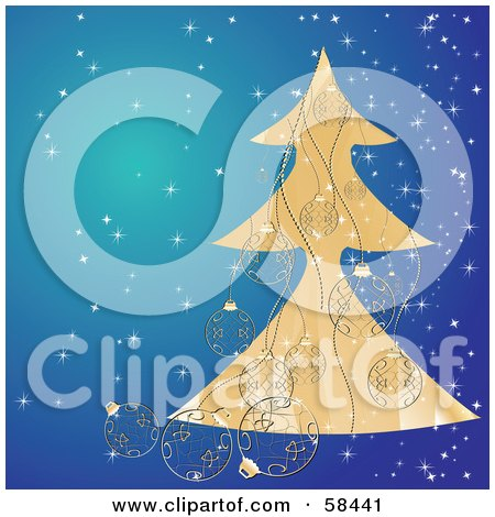 Royalty-Free (RF) Clipart Illustration of an Elegant Golden Christmas Tree On Blue With Sparkles And Ornaments by MilsiArt